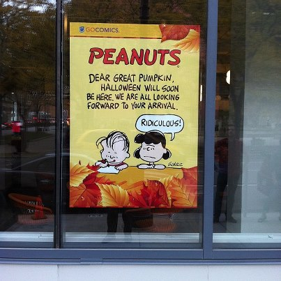 Peanuts window art at GoComics Headquarters in downtown Kansas City, Missouri