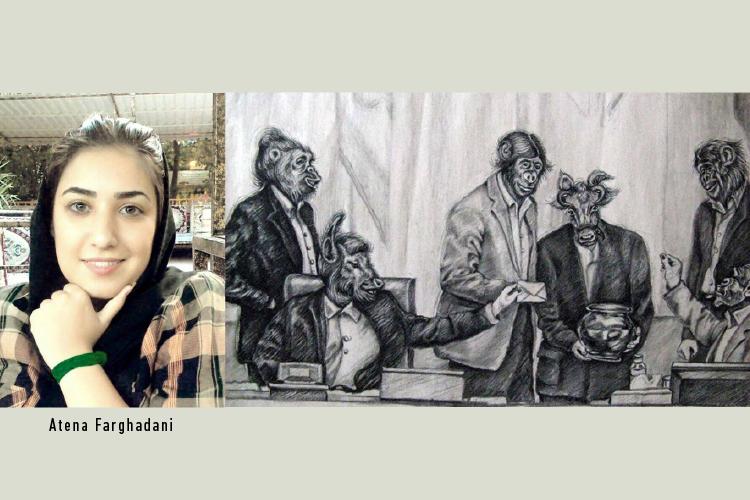 Farghadani photo and cartoon
