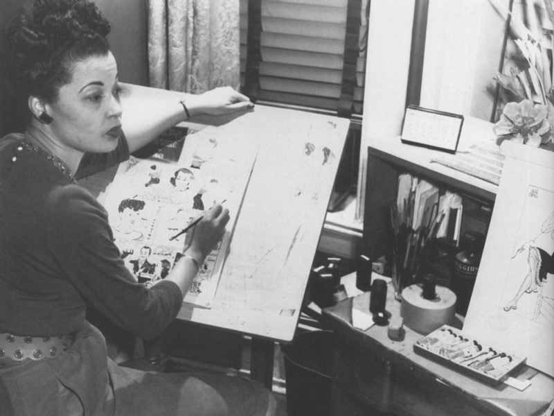 Jackie Ormes at drawing board