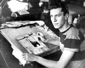Martin Landau at drawing board