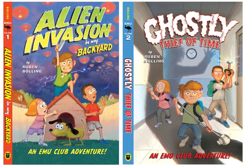 Alien Invasion and Ghostly Thief covers spine 72