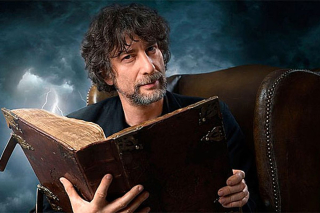 Neil Gaiman with book